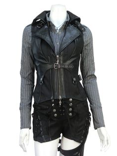 Ozz On leather and buckled vest Lolita Fashion, Gothic Fashion, Lolita Mode, Gothic Mode, Fantasy Dress, Drawing Clothes, Character Outfits, Steampunk Fashion, Look Cool