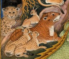 """Illustration to the Ottoman poet Lami'i Celebi's """"Serefu'l-Insan"""", a morality in which the animals complain of their ill-treatment by man (detail). (via British Museum) Tiger Drawing, Painting & Drawing, Fabulous Beasts, International Cat Day, Lion Illustration, Casual Art, Old Art, Illuminated Manuscript, British Museum"""