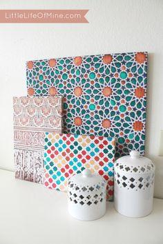 Little Life of Mine - DIY Colorful Moroccan Pattern Canvases Art Marocain, Style Marocain, Diy Art Projects Canvas, Diy Canvas, Large Canvas, Large Art, Morrocan Decor, Moroccan Art, Moroccan Style