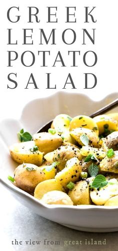 This Greek Lemon Potato Salad bursts with sunny Mediterranean flavors, and is a healthier alternative to classic potato salad ~ no mayo means it's perfect for outdoor picnics and barbecues, too.