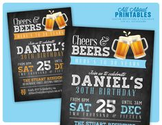 30th birthday invitation for Men. Cheers & by AllAboutPrintables