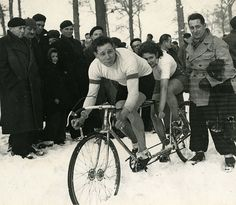 "Tandem Snow Cyclocross! ""René André and Lyli Herse at a cyclocross race in Paris during World War II"""