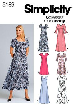 Simplicity Sewing Pattern 5189 Misses Dresses, KK ** Details can be found by clicking on the image. Simplicity Sewing Patterns, Dress Sewing Patterns, Clothing Patterns, Skirt Patterns, A Line Skirt Pattern, Simple Dresses, Summer Dresses, Summer Dress Patterns, Miss Dress