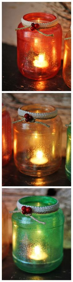 Glitter Christmas Tree Luminaries such a fun decorating idea for this holiday season!