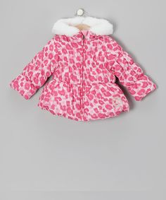 Take a look at this Pistachio Pink Leopard Puffer Coat - Infant, Toddler & Girls on zulily today!