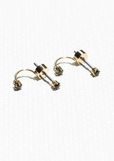 & Other Stories   Tiny Rhinestone Drop Back Earrings
