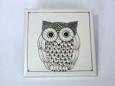 OWL hand painted ceramic tile by madrab on Etsy