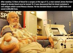 Has saved 2,000,000 lives due to blood donations. Faith In Humanity Restored – 24 Pics