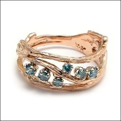 Micky Roof Rose Gold Twig Ring with Blue Diamonds - for The Jewelbox in Ithaca, NY For You Blue, Twig Ring, Blue Diamonds, Going For Gold, Precious Metals, Originals, Jewelery, Fine Jewelry, Designers