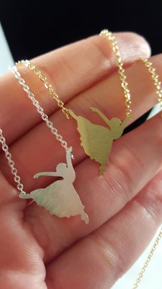 """Dancing Ballerina Necklace - Beautiful everyday necklace - Available in: Gold or Silver - Chain Length: 18"""""""