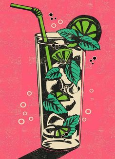 Mojito - - Poster in kunststof lijst Cocktail Illustration, Graphic Design Illustration, Illustration Art, Vintage Bird Illustration, Retro Illustrations, Bar Kunst, Vintage Food Posters, Retro Posters, Vintage Art Prints