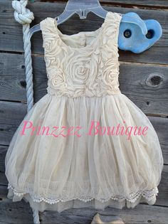 Flower girl Girls Rosette Beige/Champagne vintage dress for any occasion on Etsy, $39.08 CAD