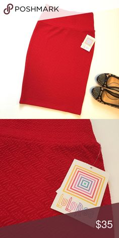 {Lulaeroe} Bright Red Cassie NWT Size XS. New with tags. Bright red textured Cassie. No trades please! LuLaRoe Skirts A-Line or Full