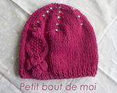 Bonnet fille 3 mois en laine rose foncée : Mode Bébé par petit-bout-de-moi