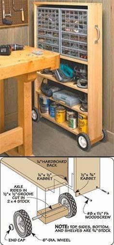 Woodworking plans for rolling shelf | Studio ideas