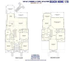 Beach Home 170 | Ocean Isle Beach Home Build | Carolina Bluewater Construction Beach House Floor Plans, Coastal House Plans, Ocean Isle Beach, Covered Decks, My Dream Home, Second Floor, Custom Homes, Building A House, New Homes