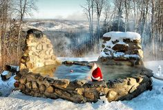 Wood-fired stone masonry hot tub.