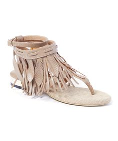 LOVE!!!  Look at this Jacobies Beverly Hills Sand Lety Fringe T-Strap Sandal on #zulily today!