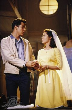 Maria (Natalie Wood) and Tony (Richard Beymer) fantasizing about their wedding ceremony in West Side Story. Tony West Side Story, Maria West Side Story, West Side Story Movie, West Side Story 1961, William Shakespeare, Recital, Classic Hollywood, Old Hollywood, Richard Beymer