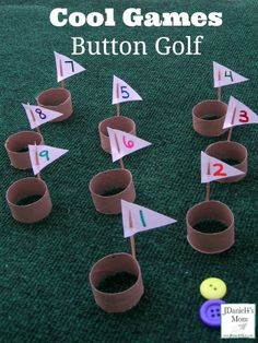 "The clever game of Button Golf is not only fun, but it also works fine motor skills, eye hand coordination & more! Learn how to create your own and play with Mom""! Indoor Games For Kids, Diy For Kids, Crafts For Kids, Golf Games For Kids, Golf Party Games, Really Cool Games, Mini Golf, Button Game, Carnival Games"