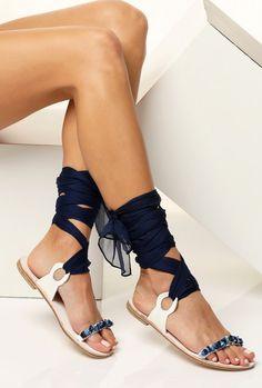 63d6fe6490d Adornado de sandalias sandalias azules zapatos planos de Zapatos Lujosos