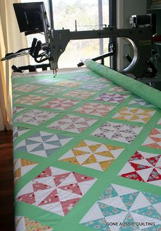 My FAVORITE color -1930's green!  Click to see the cute quilting design, too.