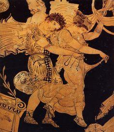 Castor and Pollux, abduct the daughters of Leucippus from a sanctuary of Aphrodite.red-figure with purple, white, dilute washes and gilding  Style: later classical 'ornate'.late 5th c.Meidias Painter