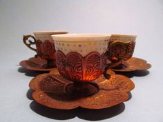 Vintage Chinese Tea Cups Glass & Copper 3 Three by euphoriaresale, $21.00