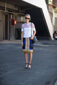 Love the patterned skirt and top, different shoes would be better.  Diego Zuko  - HarpersBAZAAR.com