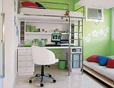Decoração de quarto com cama suspensa 3