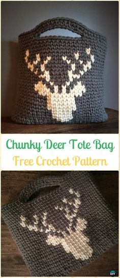 Crochet Chunky Deer Tote Bag Free Pattern - Crochet Handbag Free Patterns Instructions