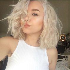 Gorgeous Platinum Blonde On Bob Hair