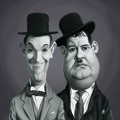 Laurel and Hardy art | decor | wall art | inspiration | caricature | home decor | idea | humor | gifts
