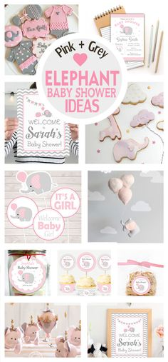 Pink and Grey Elephant Baby Shower Collection + Party Ideas