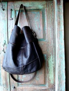 Large Dark Brown Upcycled Leather Hobo created by VintageChase