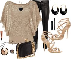 """""""Beige & Black Night Out"""" by stylisheve on Polyvore"""