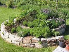 Herb Spiral, Outdoor Spaces, Outdoor Decor, Water Pond, Kraut, Backyard Landscaping, Landscaping Ideas, Vegetable Garden, Garden Design