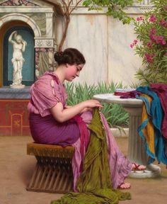 "John William Godward (1861-1922)  ""A seamstress"""
