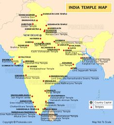 India temples map showing the major temples in India. Geography Map, Geography Lessons, Teaching Geography, World Geography, General Knowledge Book, Gernal Knowledge, Knowledge Quotes, India World Map, India Map