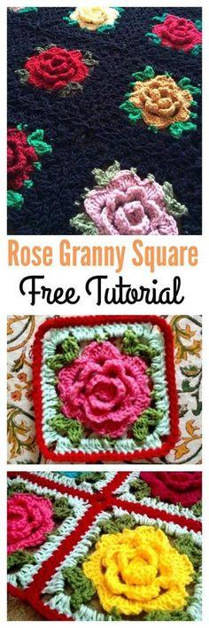 Ganchillo 3D Rose Granny Square Afganistán Tutorial gratuito