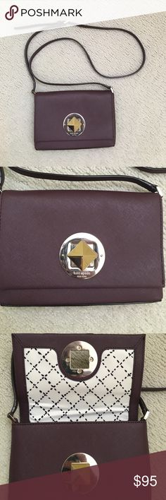"""NWOT Kate spade crossbody This Kate spade crossbody is NEW without tags, perfect condition! This mullwined maroon color is perfect for a dressy cocktail bag or a casual crossbody for daytime. Scratch resistant, water resistant, Saffiano leather! Adjustable crossbody strap with 22.5-45"""" drop. Light gold hardware kate spade Bags Crossbody Bags"""
