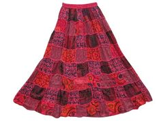 Amazon.com: Gypsy Patchwork Skirt Red Floral Printed Womens Boho Maxi Skirt: Clothing