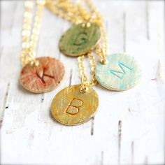 Custom Bridesmaids Initial Letter Charm - Patina Necklace - Monogram Personalized Handmade Jewellery