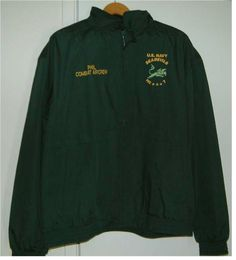 SEADEVILS HC-7 CREST ON JACKETS  this is just 1 color jacket - HUNTER GREEN color jacket on hanger. Embroidery Services, Hunter Green, Green Colors, Adidas Jacket, Hanger, Company Logo, Jackets, Fashion, Down Jackets