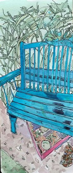 Blue bench, watercolor, sketch, art journal, visual diary