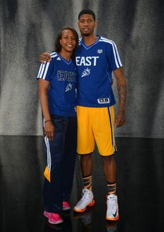 Paul George with Indiana Fever star Tamika Catchings Indiana Basketball, Love And Basketball, Indiana Pacers, Wnba, Cool Shirts, All Star, Pacers Playoffs, Stars, Gladiators