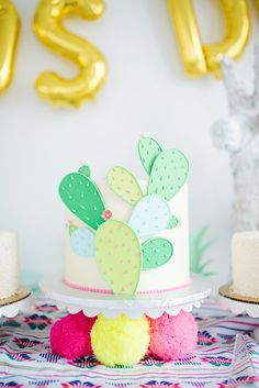 Love this cactus cake so much! Perfect for a first birthday fiesta Llama Birthday, Birthday Cake, First Birthday Parties, First Birthdays, Birthday Ideas, Party Cakes, Party Favors, Cactus Cake, Fiestas Party
