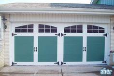 Diy Garage Door Makeover Ideas and Pics of Garage Doors Black. Garage Door Update, Cheap Garage Doors, Garage Door Paint, Garage Door Colors, Modern Garage Doors, Garage Door Makeover, Garage Door Design, Door Redo, Garage Door Window Inserts