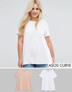 ASOS CURVE Swing T-Shirt 2 Pack - Multi
