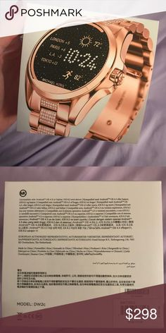 Michael Kors Smart Watch Sealed.... Brand new in box. I have so many because my friend works at a retail store! So they're 100% authentic.  Retails at $395 Diamond rose gold Everything included  Compatible with Apple and Android Smartphones. Activity Tracker, Sleep Monitor, Notifications. All Day Battery Life. 2 year warranty. KORS Michael Kors Accessories Watches